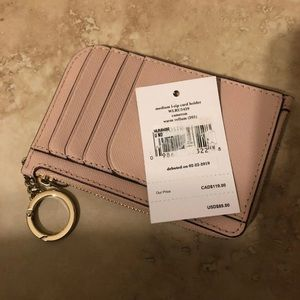 Medium L-Zip Card Holder Keychain Warm Vellum Size
